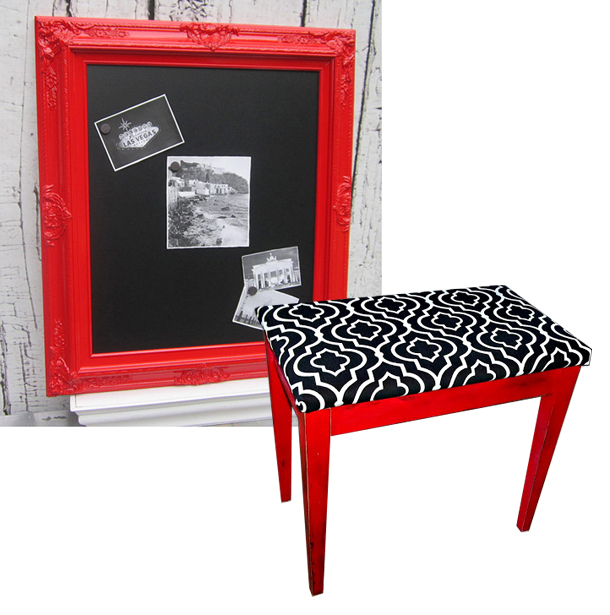Red Magnetic Chalkboard by Revived Vintage on Etsy, Little Red Piano Bench by Pages From Home