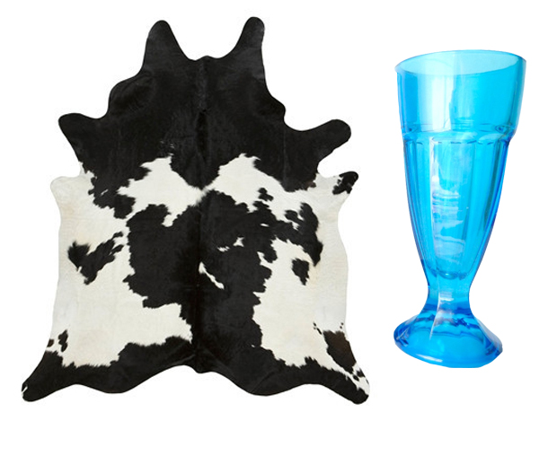 Cowhide Rug from Bloom, Cobalt Blue Sundae Glass by Mungo and Midge on Etsy