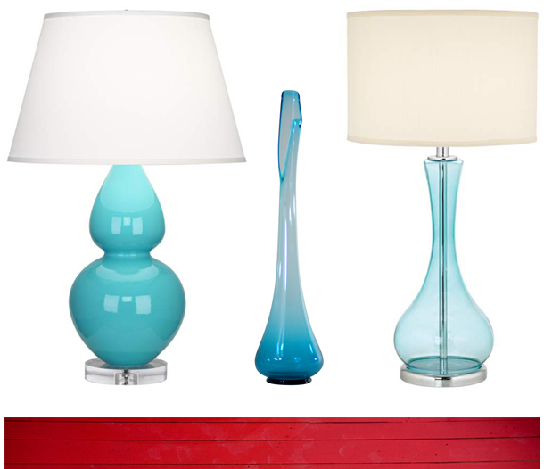 Blue Double Gourd Egg Table Lamp from Euro Style Lighting, 1960's Blue Glass Vase from Joseph Anfuso, Blue Martini Glass Table Lamp from Euro Style Lighting