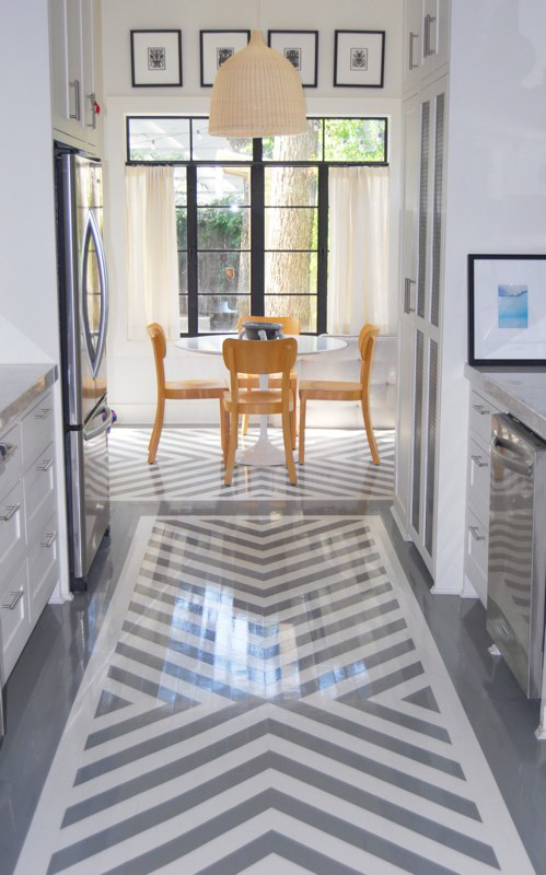 grey and white chevron painted floor