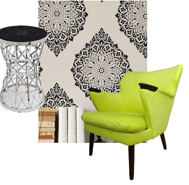 tattoo-wallpaper-tender-shoots-chair-chrome-side-table