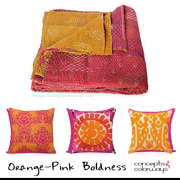 Orange Pink Boldness Pillow Set