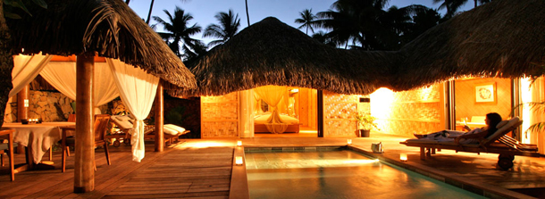 polynesian villa at night
