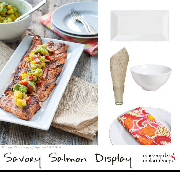 salmon dish table arrangement