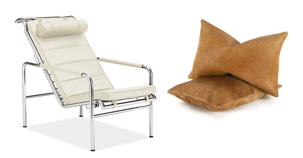 white-modern-chair-brown-cowhide-pillows