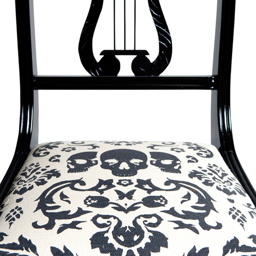 Black and White Skull Damask Upholstery