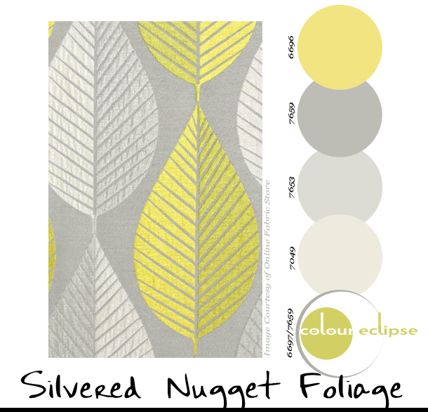 grey and yellow stylized leaf fabric Archives - Concepts and Colorways