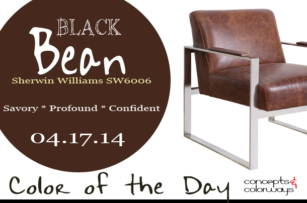 sherwin williams SW6006 Black Bean, Bungalow 5 lever vintage brown lounge chair, brown leather and chrome modern chair, dark brown, reddish-brown