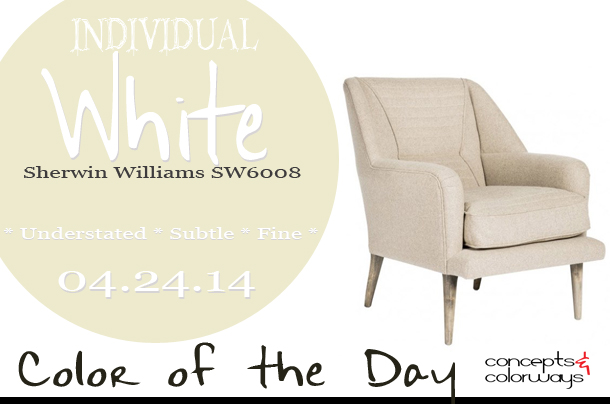 04.24.14-individual-white-color-of-the-day, sherwin williams SW6008 individual white, aidan gray bruce salon chair, pale gray, off-white