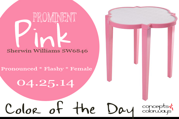 04.25.14-prominent-pink-color-of-the-day, sherwin williams SW6846, prominent pink, hot pink, bright pink, oomph greenwich side table, hot pink side table, hot pink interiors, hot pink in interior design