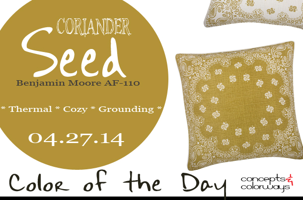 04.27.14-coriander-seed-color-of-the-day, benjamin moore coriander seed AF-110, ochre, thomas paul ochre bandana pillow