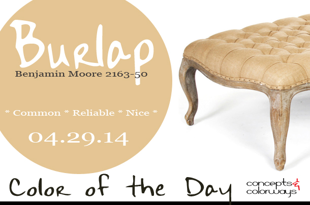 04.29.14 Color of the Day, Benjamin Moore 2163-50 Burlap, peach, french country rustic burlap tufted ottoman