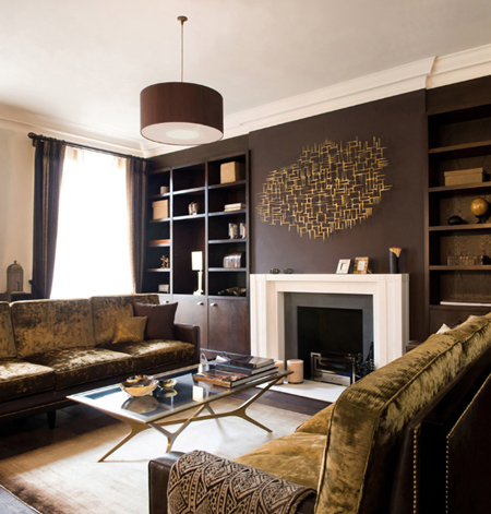 chocolate brown living room with cream accents