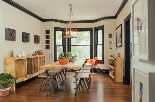 peach toned wood furniture, dining room with peach tones