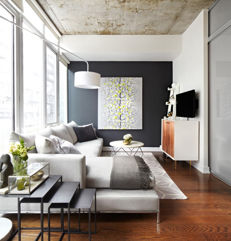 living room with gravel gray accent wall