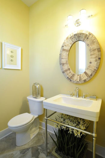 powder room with yellow walls
