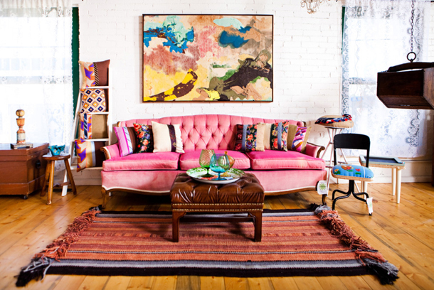 hot pink sofa, bohemian style interior, hot pink in interior design, sherwin williams SW6846 prominent pink