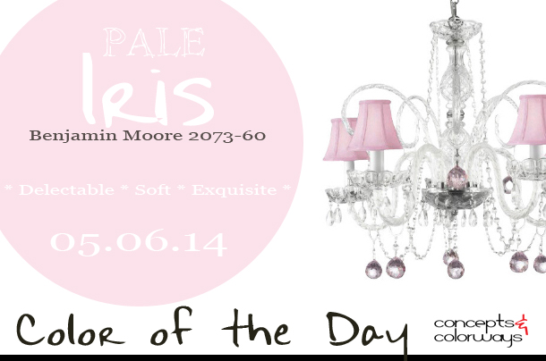 05.06.14 Color of the Day, Pale Iris, Benjamin Moore 2073-60, light pink, soft pink, pale pink, crystal chandelier with light pink shades