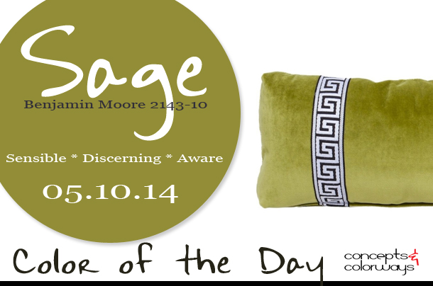 05.10.14 Color of the Day, Sage, Benjamin Moore 2143-10, avocado green, sage green, pea green, olive green, olive green greek key lumbar pillow, 146.141.55