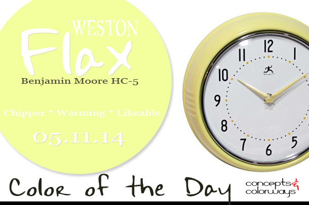05.11.14 Color of the Day, Weston Flax, Benjamin Moore HC-5, light yellow, canary yellow, pale yellow, light yellow retro wall clock
