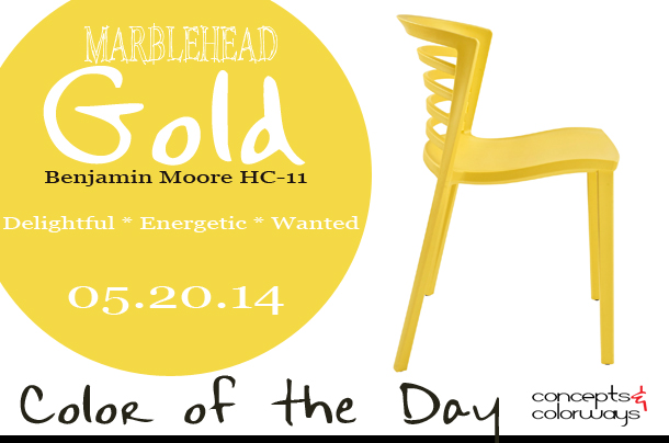 05.20.14 Color of the Day, Marblehead Gold, Benjamin Moore HC-11, bright yellow, bright gold, curvy dining side chair in yellow