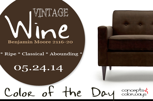 05.24.14 Color of the Day, Vintage Wine, Benjamin Moore 2116-20, purplish-black, dark wine, jefferson leather chair from thrive
