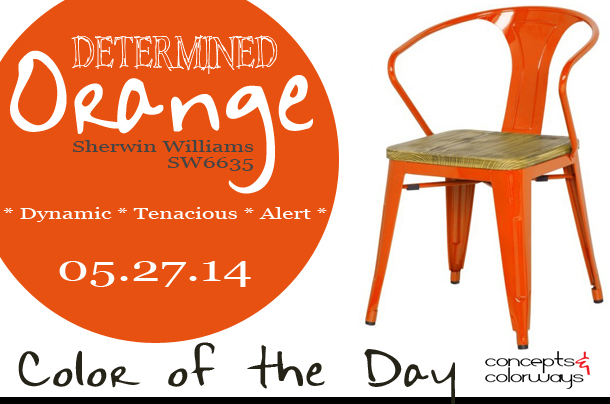 05.27.14 Color of the Day, Determined Orange, Sherwin Williams SW6635, bright orange, orange grand metal arm chair