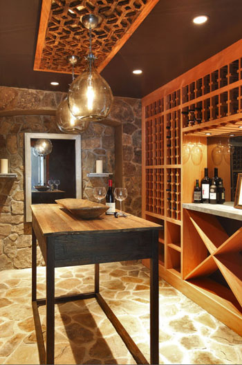 wine cellar with vintage wine ceiling