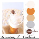 paint palettes, color palettes, color schemes, benjamin moore color combinations, thai iced tea recipe, thai iced tea photograph, burnt orange, light beige, off-white, warm white, dark reddish-brown