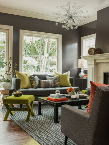 purple-gray living room with olive accents