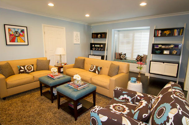 Living Room, Blue Gray Walls, Blue Gray Ottomans, Bright Gold Upholstered