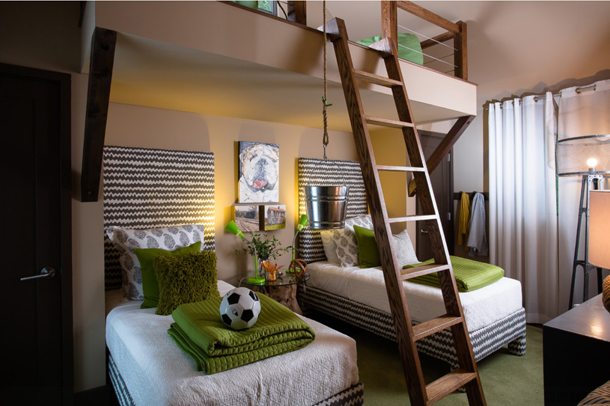 HGTV kids bedroom, built-in loft, step ladder, green pillows and blankets, sage green, olive green, avocado green