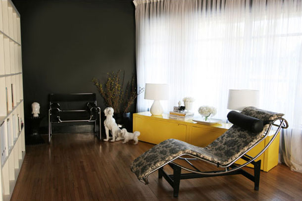 modern living room design, bright yellow credenza, bright gold accent table