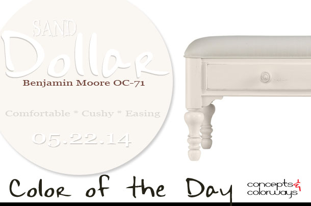 05.22.14 Color of the Day, Sand Dollar, Benjamin Moore OC-71, warm white, off-white, coastal cottage living bed end bench