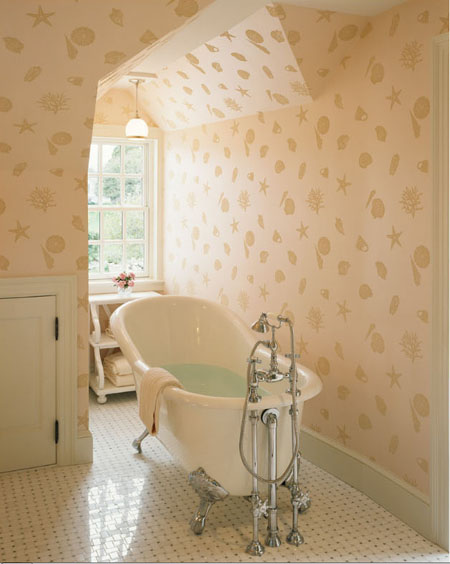 traditional bathroom, ballfoot tub, soft color palette, shell wallpaper