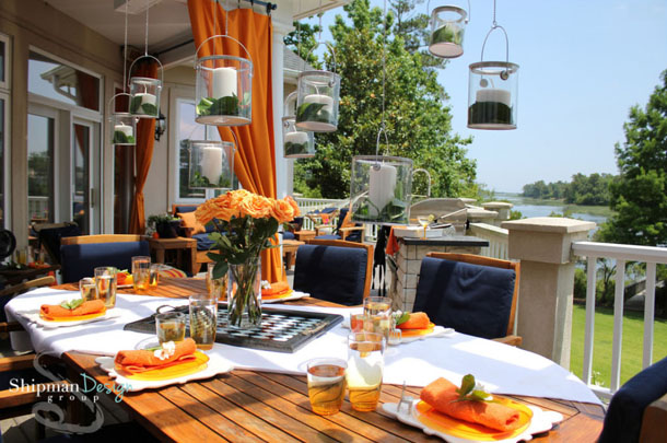 patio dining with bright orange accents