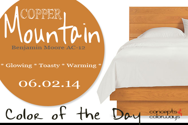 06.02.14 Color of the Day, Copper Mountain, Benjamin Moore AC-12, caramel brown, copper brown, Room & Board Hudson solid cherry bed