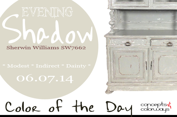 06.07.14 Color of the Day, Evening Shadow, Sherwin Williams SW7662, pale blue-gray, midcentury french painted buffet