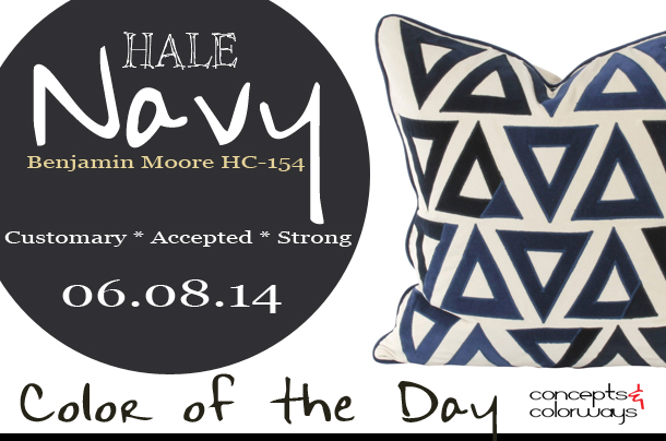 06.08.14 Color of the Day, Hale Navy, Benjamin Moore HC-154, dark navy, dark blue, V Rugs & Home Molly Blue/Cream Pillow