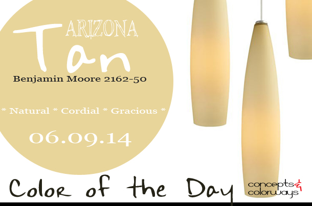 06.09.14 Color of the Day, Arizona Tan, Benjamin Moore 2162-50, light tan, light beige, Fino Small Pendant from YLighting