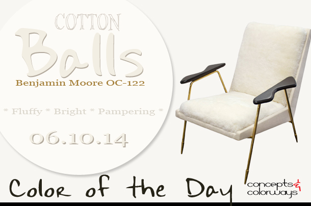 White sheepskin chair with brass legs archives concepts for Benjamin moore cotton balls