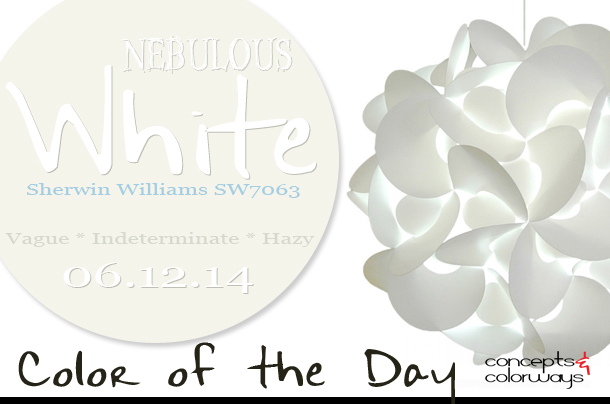 06.12.14 Color of the Day, Nebulous White, Sherwin Williams SW7063, cool white, medium rounds swag plus in pendant lamp