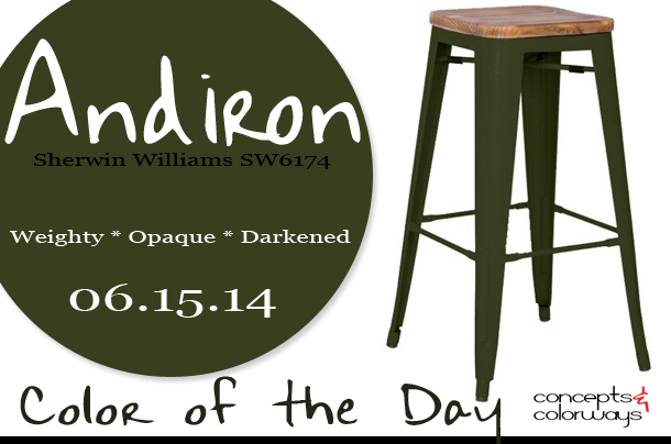 06.15.14 Color of the Day, Andiron, Sherwin Williams SW6174, dark green, grand metal bar stool rifle green