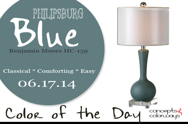 06.17.14 Color of the Day, Philipsburg Blue, Benjamin Moore HC-159, slate blue, Desina slate blue table lamp