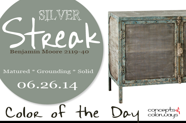 06.26.14 Color of the Day, Silver Streak, Benjamin Moore 2119-40, anteriors finn cabinet