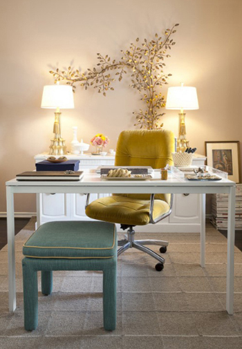 office interior with gold upholstered chair