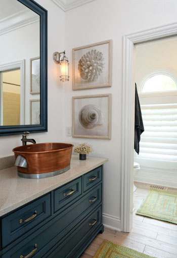nantucket bathroom with copper vanity sink