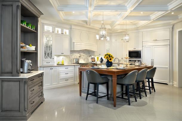 white kitchen with gray stools