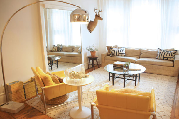 living room design, honey yellow lounge chairs