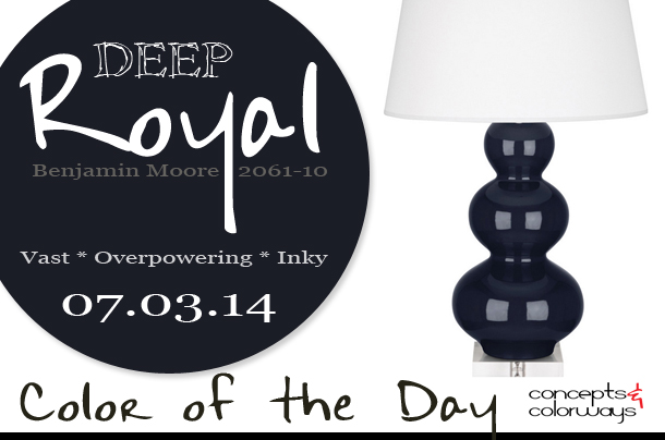 07.03.14 Color of the Day, Deep Royal, Benjamin Moore 2061-10, royal blue, dark blue, triple gourd table lamp in midnight blue